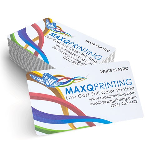 Full color printing 20pt white plastic business cards with round 20pt white plastic business cards with round corners reheart Image collections